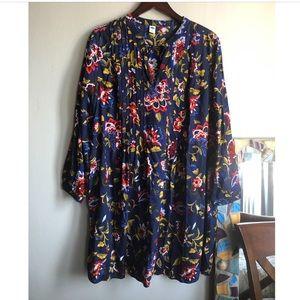 Old Navy Floral Long Sleeve Tunic Dress  Sz L